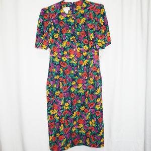 Vintage 80's Floral Print Midi Shirtdress Dress